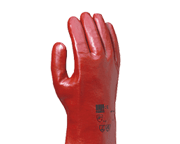 gant de protection en PVC rouge pour la manipulation de produits dangereux